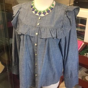 Madewell denim color long sleeve top with ruffle
